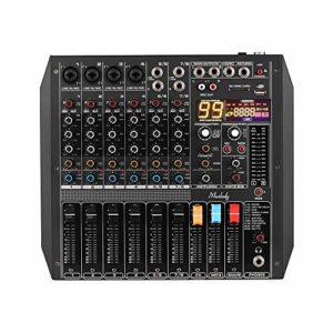 Muslady Console de mixage 8 canaux 99 effets DSP intégrés + alimentation fantôme 48 V Prise en charge de BT Connection pour la diffusion en direct de studio d'enregistrement en réseau DJ Karaoke