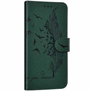 NSSTAR Compatible avec Huawei Mate 30 Pro Étui Housse en Cuir Portefeuille Coque Magnétique Flip Cover Fentes de Cartes Plume oiseau Motif Pochette Coque Protection avec à Rabat Stand,Vert