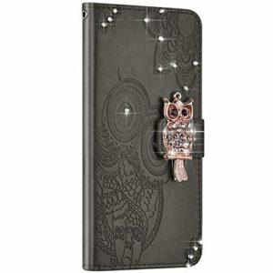 NSSTAR Compatible avec Samsung Galaxy A10S Housse Portefeuille Cuir Étui Paillette Brillante Diamant Glitter Hibou Mandala Fleur Coque Protection Flip Case Stand Support Magnétique, Gris