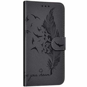 NSSTAR Compatible avec Samsung Galaxy A8s Étui Housse en Cuir Portefeuille Coque Magnétique Flip Cover Fentes de Cartes Plume oiseau Motif Pochette Coque Protection avec à Rabat Stand,Gris