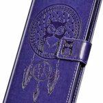 NSSTAR Compatible avec Samsung Galaxy M30S Housse Etui Portefeuille Cuir Coque Attrape rêve Hibou Motif Pochette Coque Flip Case Porte-Cartes Etui à Rabat Stand Support Magnétique,Violet