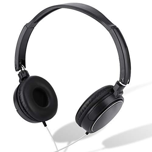 Ponacat Casque Stéréo Filaire Supra-Auriculaire pour Podcasts Casque de Monitoring Et D'enregistrement Pliable pour Ordinateur Clavier Et Guitare avec Prise 3 5 Mm Carte TF
