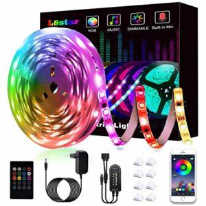 Ruban à LED, L8star LED Ruban Intelligent Bande Lumineuse Led 5050 RGB SMD Multicolore Bande LED Lumineuse avec Télécommande changement Synchroniser avec Rythme de Musique (16.4FT)
