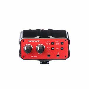 Saramonic Sr-pax1deux canaux audio Mixer/Préampli/adaptateur Micro avec alimentation fantôme, double sortie entrées XLR, 6,3mm, 3.5mm + 3.5mm pour appareil photo reflex, caméscopes, ou sans miroir