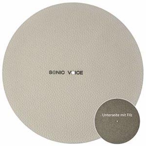 Sonic Voice Coussin de plateau en cuir véritable pour un meilleur amorti avec un dos en feutre Beige Ø 29,5 cm