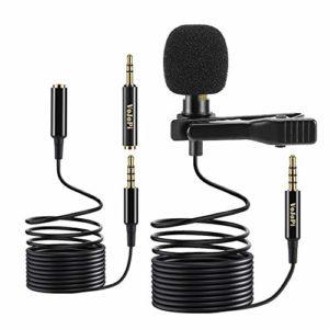 VoJoPi Micro Cravate, Professionnel 3,5mm Omnidirectionnel Microphone Condensateur Mic avec Rallonge de 2 m, pour iPhone / Android / Appareil Photo / PC / Tablette Vidéo Recording