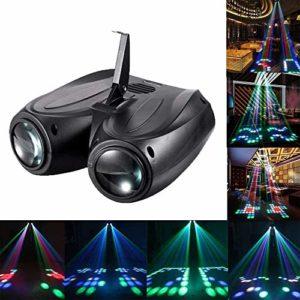 xxz Lampe de projecteur de dirigeable à Double tête 128, éclairage de projecteur Moonflower à Activation vocale Automatique, pour Spectacles DJ Dance Party