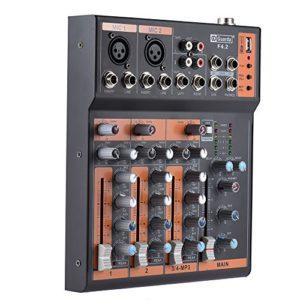 Ammoon Table de mixage portable 4canaux Ligne Mic Audio Égaliseur 3 bandes Interface USB Alimentation fantôme avec adaptateur 48V