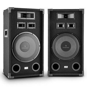 auna PA-1200 – Paire d'enceintes de sonorisation PA Full Range avec Subwoofers 12″ – 1000w max