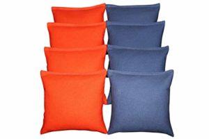 BackYardGamesUSA Lot de 8Sacs Cornhole Choisissez Votre 2Couleurs. Taille réglementaire ~ de qualité supérieure Fait à la Main, Royal Blue/Orange