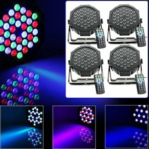 Berkalash Lot de 4 lumières de scène RVB 36 LED 3 couleurs Disco pour scène avec télécommande, pour Show Bar DJ KTV Disco Anniversaire Party Halloween