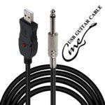 Câble guitare-USB, guitare basse vers PC Interface de connexion Convertisseur Adaptateur, fiche USB de 6,5mm, câble pour enregistrement vers l'ordinateur – 3m
