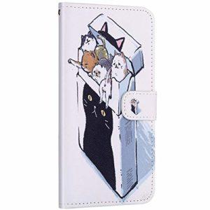 Compatible avec Samsung Galaxy A20e Etui en Cuir Coque Pochette Portefeuille Housse Motif Coloré Coque avec Support Stand Porte-Cartes Rabat Magnétique Clapet Flip Case,Cute Chat