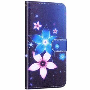 Compatible avec Samsung Galaxy A50 Coque Housse en Cuir PU Portefeuille Étui Motif Coloré Coque de Protection avec Fonction Stand Magnétique Rabat Coque Porte-Cartes,Fleur Bleu