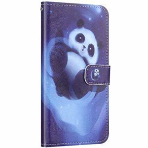 Compatible avec Samsung Galaxy A70 Coque Housse en Cuir PU Portefeuille Étui Motif Coloré Coque de Protection avec Fonction Stand Magnétique Rabat Coque Porte-Cartes,Cute Panda
