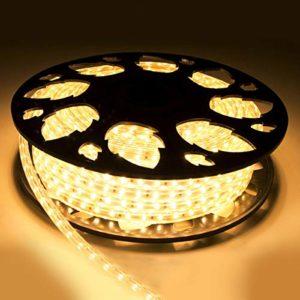 Cordon lumineux LED blanc chaud -Tube lumineux- Bande LED (100 mètres & lumen normal 2835smd – 2700K)