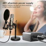 EBXYA 2-Canal 48V Alimentation Fantôme avec Câble USB, Câble XLR à 3,5mm Jack pour Tous Microphones à Condensateur Musique Dispositifs d'Enregistrement