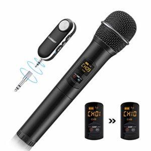 ELEGIANT Microphone Bluetooth, Micro sans Fil UHF Microphone Professionnel Portable avec récepteur Micro karaoké Studio kit de système pour réunion KTV soirée Compatible avec Portable Adroid Apple