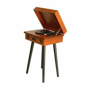 ELQ Platine Vinyle Tourne-Disque avec Haut-Parleurs – Lecture MP3 USB/Bluetooth – Arrêt Automatique – Sortie Casque – Bois Massif Rétro