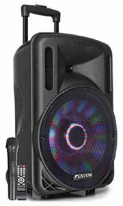 Fenton FT12LED Enceinte Sono Portable avec Batterie 12″ – 700W, Enceinte Portable, Bluetooth, Micro UHF sans Fil, Eclairage LED, Secteur et Batterie, Parfait pour soirées et Animation