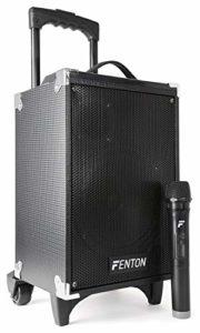 Fenton ST050 Enceinte Sono Portable 8″ Bluetooth/MP3/USB/SD/VHF – 130W Puissance Max, Microphone VHF sans Fil, Batterie intégrée, avec poignée télescopique et roulettes pour Les déplacements