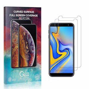 GIMTON Verre Trempé pour Galaxy J6 Plus, Anti Rayures Protection en Verre Trempé Écran pour Samsung Galaxy J6 Plus, Dureté 9H, sans Bulles, 3D Touch, 2 Pièces