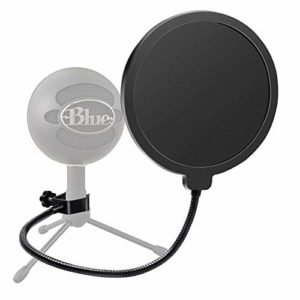 Haquno Filtre pop pivotant avec double couche de protection pour microphone Yeti bleu et tout autre microphone double couche