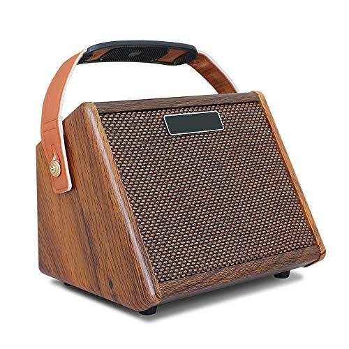 Haut-parleur portable, Connexion sans fil Guitare APM avec haut-parleurs de studio rechargeables en grain de bois Réglage de la réverbération pour les voyages, l'extérieur, la maison et les fêtes