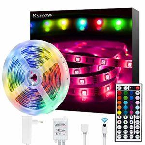 Ksipze Ruban LED 5M Bande LED 5050 RGB Multicolore Dimmable, Bande avec Télécommande IR, Bande Lumineuse 20 Couleurs et 8 Modes pour Léclairage à La Maison Décoration de Barre de Lit de Cuisine