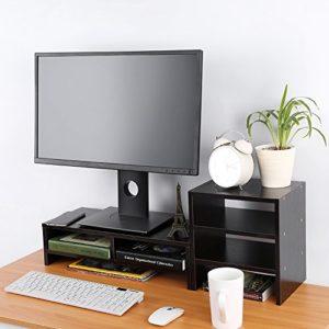 lyrlody Support pour Moniteur, PC Portable en Bois, écran d'ordinateur, Support de Rangement pour Ordinateur de Bureau, écran de Rangement pour Ordinateur de Bureau(Schwarz Walnus)