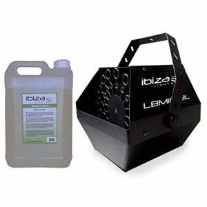 Machine à bulles Noir grand débit IBIZA LIGHT LBM-10 pour mariages, soirées, Dj, avec 5L de liquide