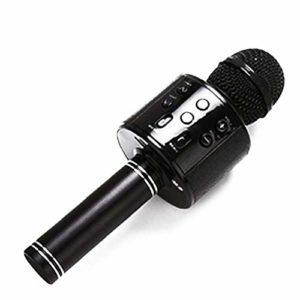 Microphone Bluetooth Multifonction Portable Sans Fil Karaoke Microphone Haut-parleur Pour Le Chant Party Music Jouer Batterie Inclus Bleu
