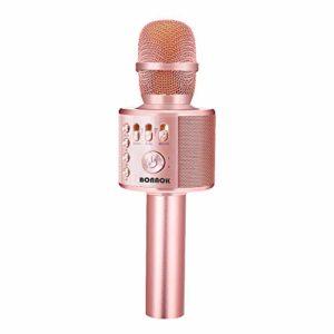Microphone Sans Fil Karaoké, BONAOK Microphone Bluetooth Lecteur Enregistreur Mini Karaoké Enfant Fête Familial pour Appareil Intelligent Android/iOS