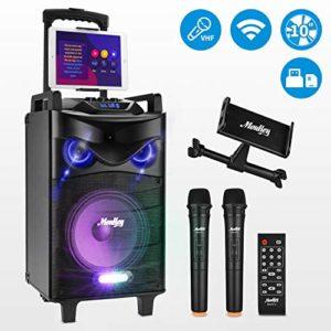 Moukey Enceinte Portable Sonorisation Portable BT 540 Watt Haut-parleurs 10″ avec VHF Micros, Eclairage, Support Tablette