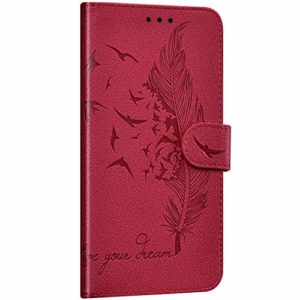 NSSTAR Compatible avec Huawei P20 Lite 2019 Coque Portefeuille Housse Cuir Etui à Rabat Plume Oiseau Rétro Motif Flip Case Fermeture Magnétique Porte-Carte Fonction de Support,Rouge