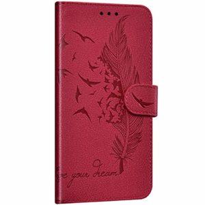 NSSTAR Compatible avec Samsung Galaxy A60 Coque Portefeuille Housse Cuir Etui à Rabat Plume Oiseau Rétro Motif Flip Case Fermeture Magnétique Porte-Carte Fonction de Support,Rouge