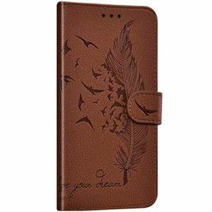 NSSTAR Compatible avec Samsung Galaxy A8s Coque Portefeuille Housse Cuir Etui à Rabat Plume Oiseau Rétro Motif Flip Case Fermeture Magnétique Porte-Carte Fonction de Support,Marron