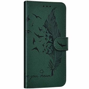 NSSTAR Compatible avec Samsung Galaxy A8s Étui Housse en Cuir Portefeuille Coque Magnétique Flip Cover Fentes de Cartes Plume oiseau Motif Pochette Coque Protection avec à Rabat Stand,Vert
