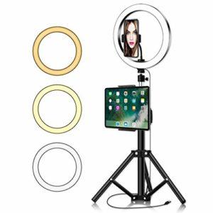 Ownlife 10inch Annulaire avec trépied for LED vidéo IPad Photographie Studio Bague Lampe 5600K avec USB Plug for Le Maquillage