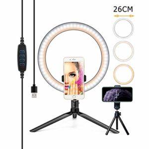 Ownlife 26cm / 10inch Photographie d'éclairage Téléphone Anneau Lumineux trépied Photo LED Selfie Bague Lampe TikTok Youtube en Direct