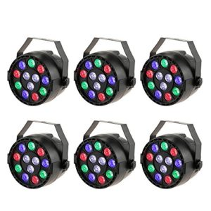 Par LED, Lixada DMX512 Lampe de scène Projecteur à effet, 12 LED RGBW 8 canaux, DMX512/Master Slave/stroboscope autonome/automatique pour Club Bar KTV Disco Show(6pcs)