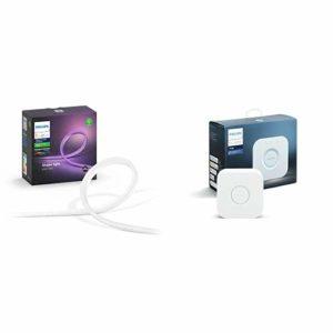 Philips Hue White & Color Ambiance Outdoor Lightstrip 2m + Pont de connexion – Fonctionne avec Alexa