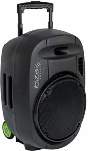 "PORT15VHF-MKII – Ibiza Sound – Système de sonorisation Portable Autonome 15"" / 800W avec USB-MP3, Bluetooth, Vox et 2 micros VHF, Noir"