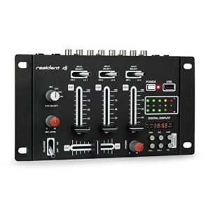 resident dj DJ-21 – Console de mixage DJ 3/2 canaux, Table de mixage DJ, USB, Compatible MP3, 2 entrées RCA, Commande CUE, Section Microphone, Prise XLR, Montage Possible sur Rack, Noir