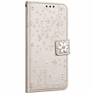 Saceebe Compatible avec Huawei Honor 10 Coque Pochette Portefeuille Housse Cuir Glitter Diamant Fleur de cerisier Chat Coque Flip Case Support Stand Housse Magnétique Étui à Rabat,Or