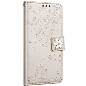 Saceebe Compatible avec Huawei P20 Lite Coque Pochette Portefeuille Housse Cuir Glitter Diamant Fleur de cerisier Chat Coque Flip Case Support Stand Housse Magnétique Étui à Rabat,Or