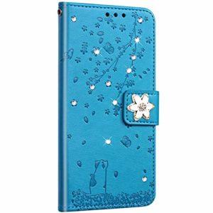 Saceebe Compatible avec Huawei P8 Lite 2017 Coque Pochette Portefeuille Housse Cuir Glitter Diamant Fleur de cerisier Chat Coque Flip Case Support Stand Housse Magnétique Étui à Rabat,Bleu