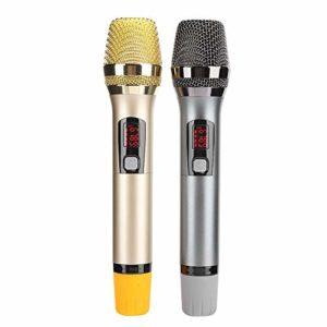 sjlerst Microphone sans Fil Portable,équipement Audio et vidéo Domestique MIC avec Fonction Bluetooth,Affichage électrique de la quantité de LED,avec Manchon de Fixation du Microphone