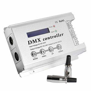 SODIAL la Bande LED le DéCodeur DMX avec XLR3 et RJ45 AC110V AC220V LED de NéOn DMX512 Haute Tension Max