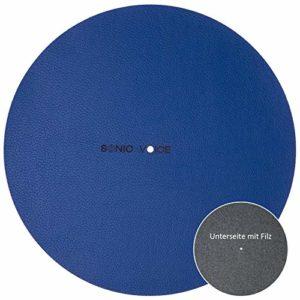 Sonic Voice Coussin en cuir bleu optimisé pour tourne-disque En cuir véritable avec dos en feutre. Pour un son clair et fin